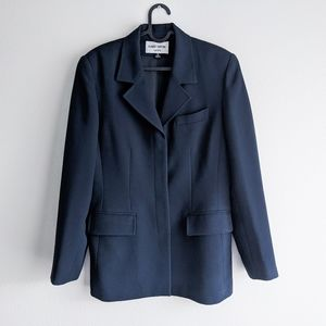 Albert Nipon Button Up Blazer Navy Blue Top Size 6